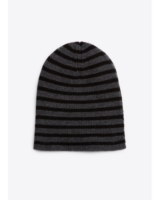 Vince | Black Striped Ribbed Merino Wool Beanie for Men | Lyst