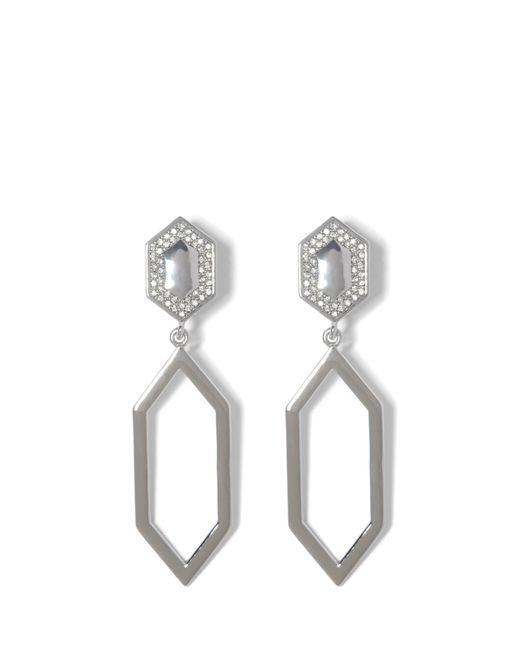 Vince Camuto - Metallic Silvertone Geo Drop Clip-on Earrings - Lyst