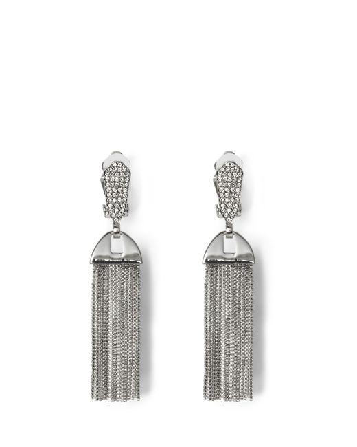 Vince Camuto | Metallic Silvertone Pavé Tassel Clip Earrings | Lyst