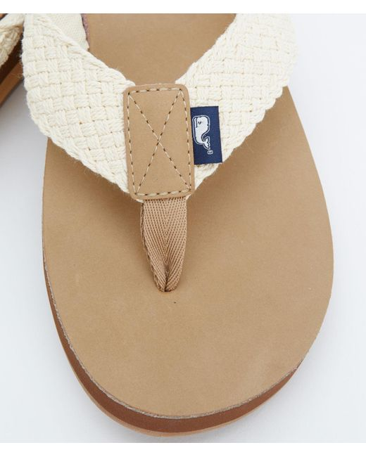 d0490aa5d01a11 ... Vineyard Vines - Natural Leather Flip Flops With Washed Webbing for Men  - Lyst