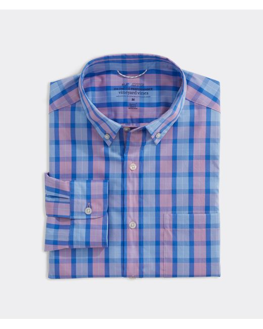 Vineyard Vines Blue Classic Fit Check On-the-go Shirt In Performance Brrr° for men
