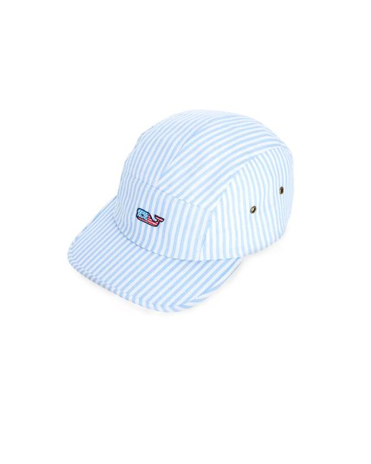 1b971631e4f Vineyard Vines - Blue Seersucker Flag Whale Five Panel Hat for Men - Lyst  ...