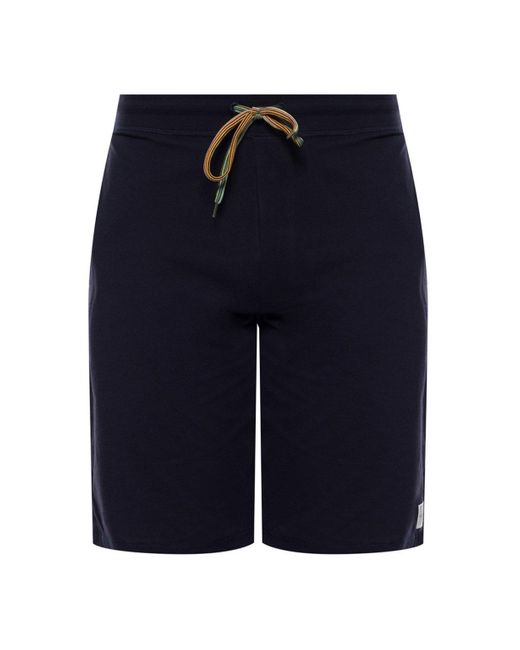 Paul Smith Blue Sweat Shorts With Logo for men