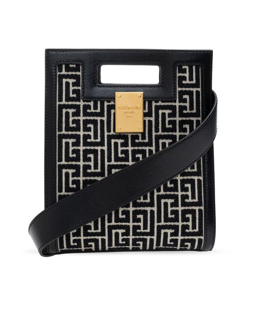 Balmain Shoulder Bag With Logo Black