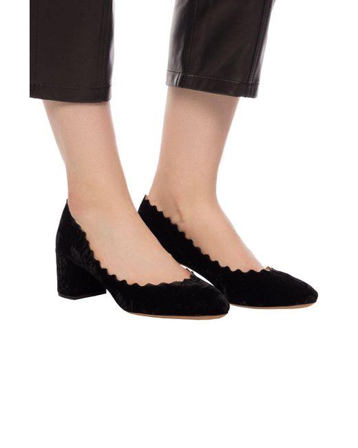 Chloé Black Lauren Scallop-Edged Leather Pumps