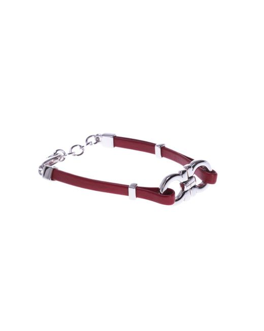 Ferragamo - Red Leather Bracelet With Logo - Lyst