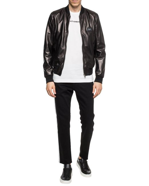 Dolce & Gabbana Black Leather Jacket With Branded Plate for men