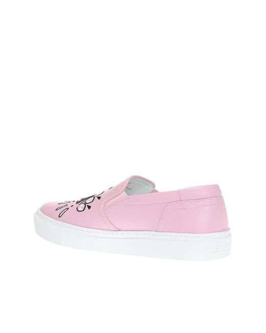 2d952866f1 KENZO Leather 'k-skate' Slip-on Sneakers in Pink - Save 68% - Lyst