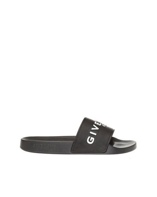 Givenchy Black Rubber Slide Sandals