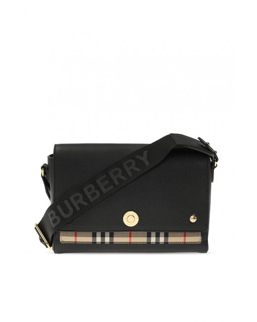 Burberry Black Leather And Vintage Check Note Crossbody Bag