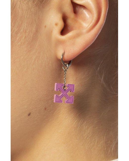 Off-White c/o Virgil Abloh Pink Logo Earring