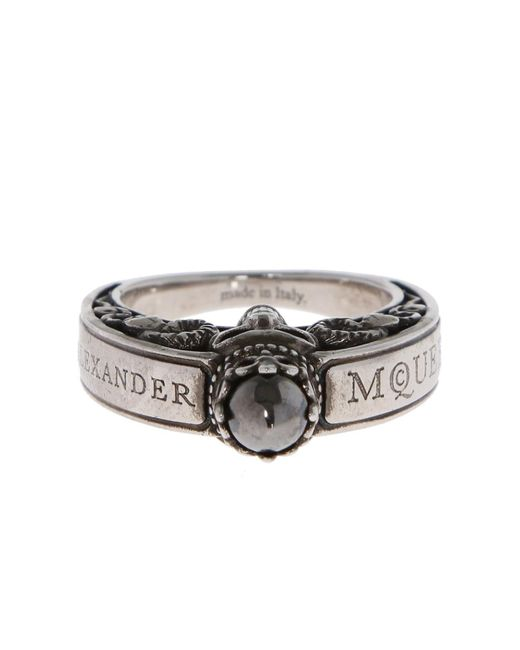 Alexander McQueen - Metallic Ring With Skull for Men - Lyst