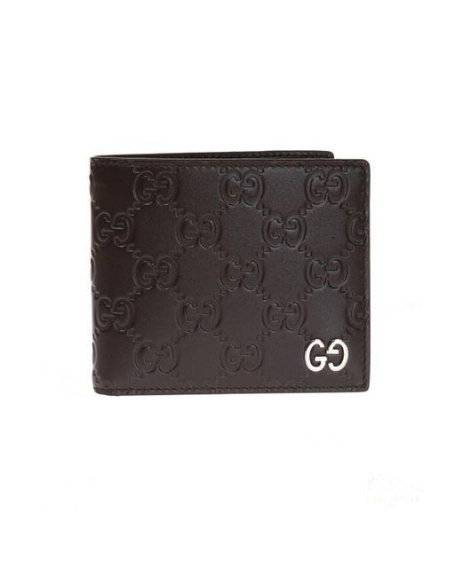 4717c32d29e3 Gucci - Brown Leather Bi-fold Wallet for Men - Lyst ...