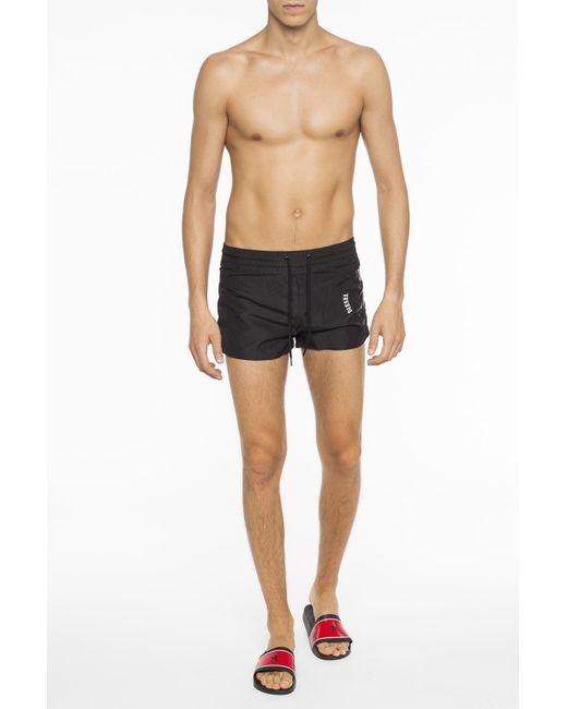 09643b7462434 ... DIESEL - Black Logo-printed Swim Shorts for Men - Lyst ...
