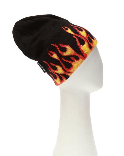 Palm Angels Black Burning Knitted Detail Beanie for men