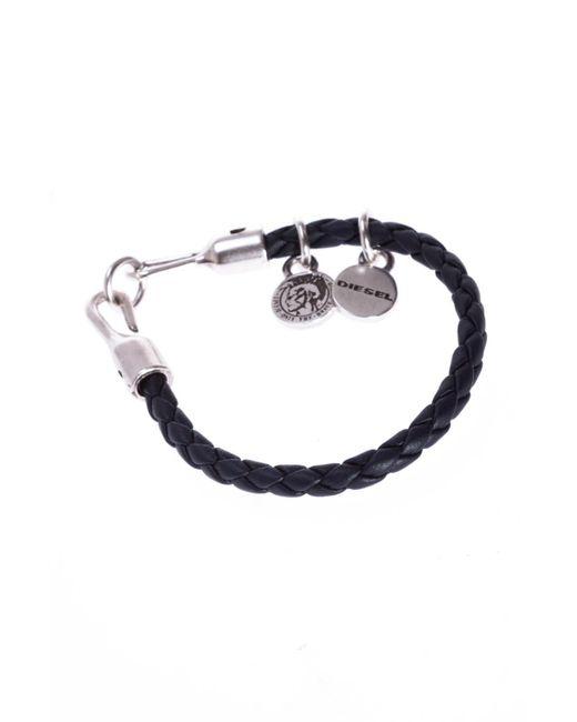 DIESEL - Black Braided Bracelet With Charms for Men - Lyst