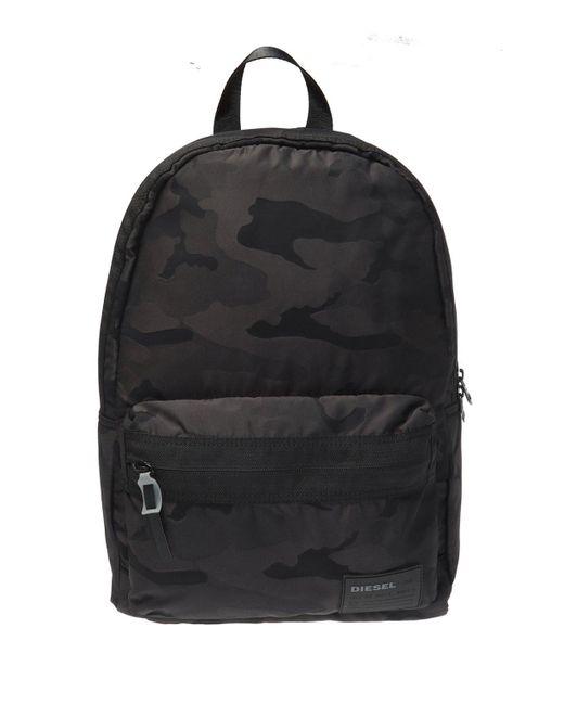 DIESEL Black Camo Backpack for men