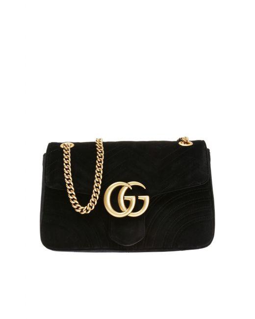 839eeb4708e Gucci Gg 2.0 Medium Quilted Velvet Shoulder Bag in Black - Save 12 ...