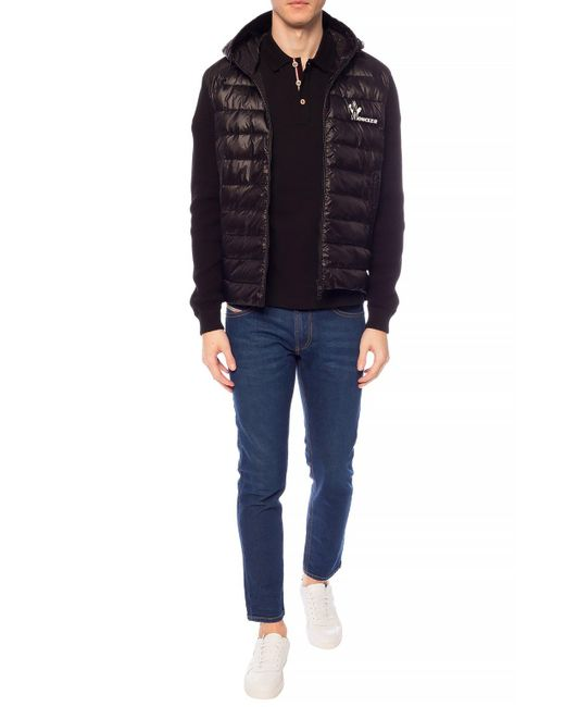 Moncler Sweater With Quilted Front Black for men