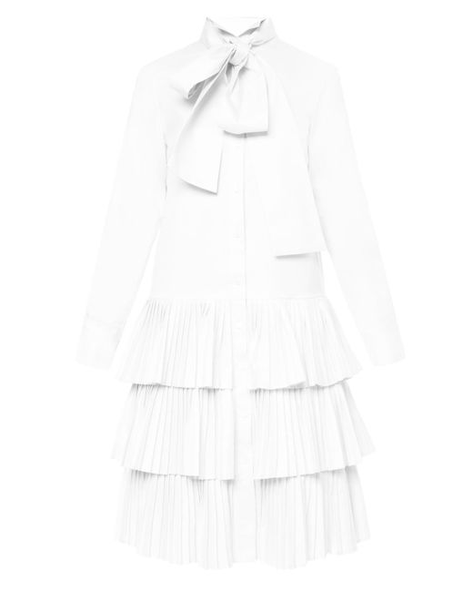 OSMAN - White Shirt-dress With Pleated Bottom - Lyst