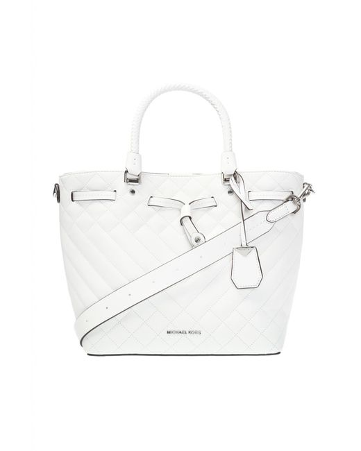 97948c40e559 Lyst - Michael Kors  blakely  Quilted Shoulder Bag in White