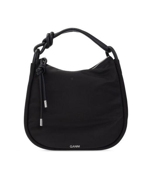 Ganni Black Shoulder Bag With Logo