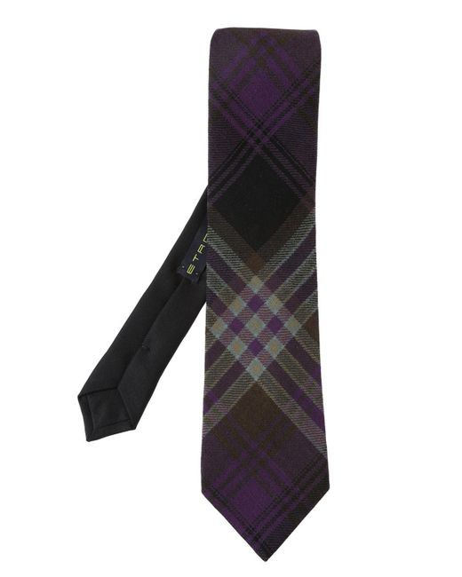 Etro - Black Checked Tie for Men - Lyst