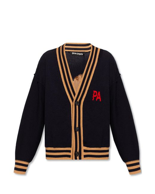 Palm Angels Blue Cardigan With Logo for men