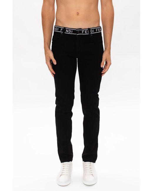 Fendi Black Jeans With Logo for men