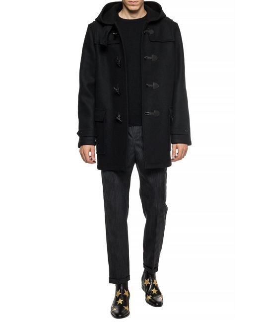 Saint Laurent Hooded Wool Coat Black for men