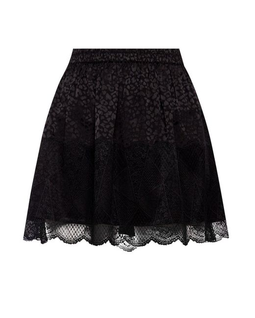 Zadig & Voltaire Black Patterned Lace Skirt