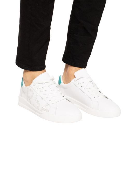 53c696dd ... Versace Jeans - White Branded Sneakers for Men - Lyst ...