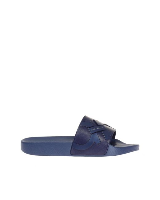 Ferragamo - Blue Logo Slides for Men - Lyst