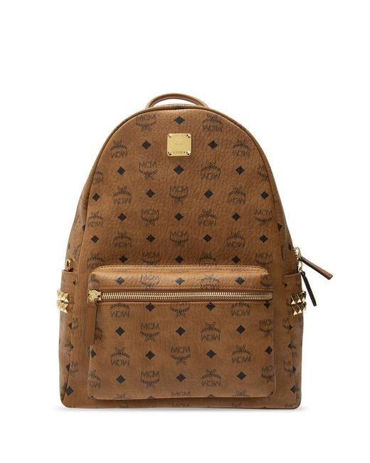 MCM Brown Dual Stark Small Visetos Faux-Leather Backpack  for men