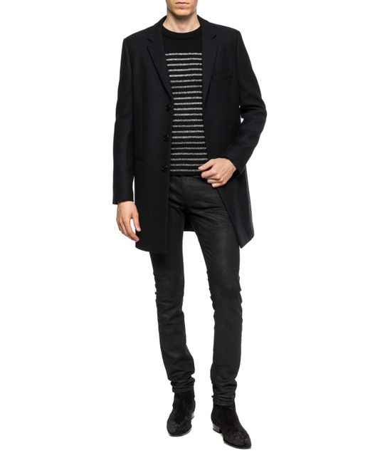 Saint Laurent Black Notch Lapel Coat for men