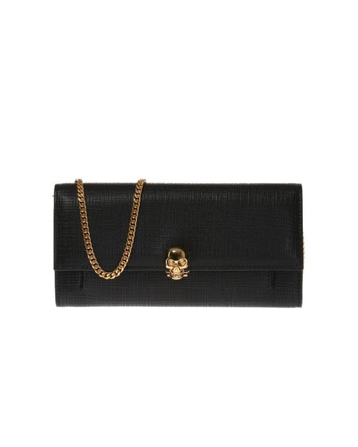 Alexander McQueen - Black Leather Wallet With Skull - Lyst