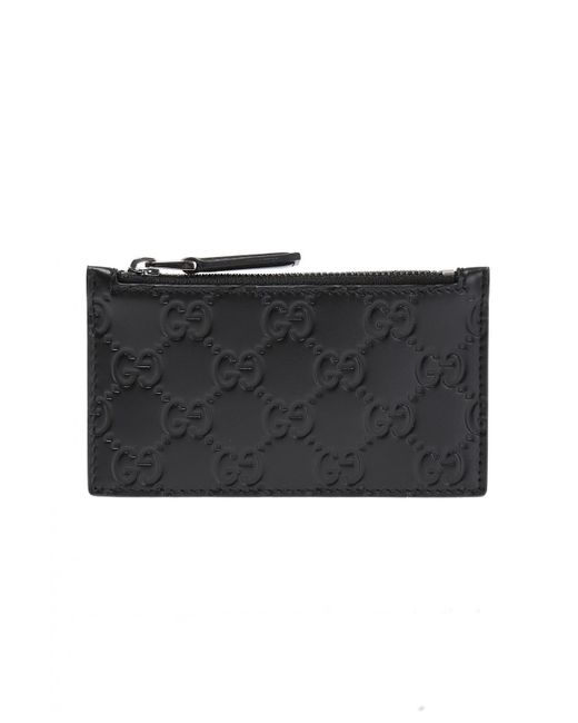 433b50789 Gucci - Black Leather Card Case for Men - Lyst ...