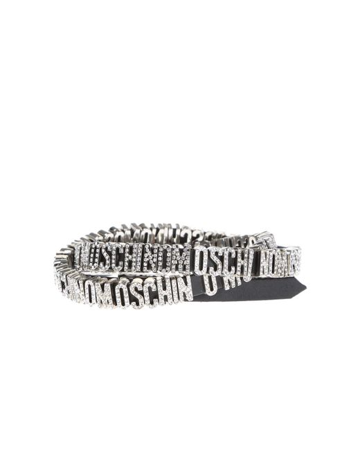 Moschino - Black Leather Bracelet With Decorative Logo - Lyst