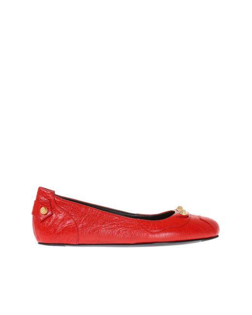 Balenciaga - Red Studded Ballet Flats - Lyst