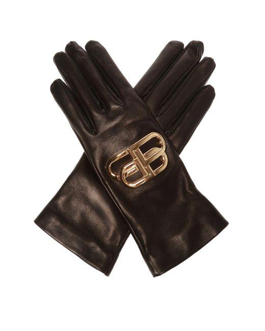 Balenciaga Black Leather Gloves With Logo