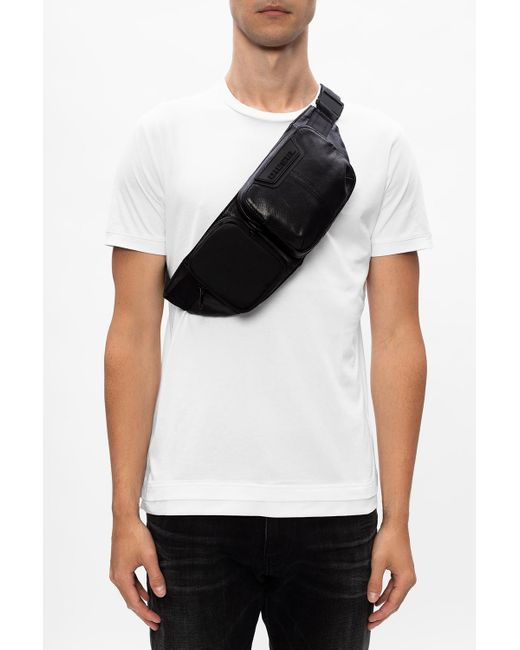 DIESEL Black Branded Belt Bag for men