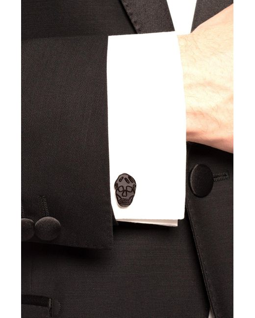 Alexander McQueen Gray Skull Motif Cufflinks for men