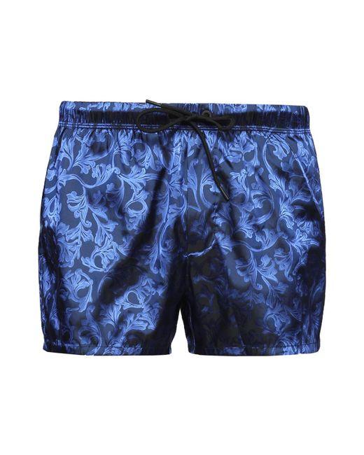 Versace - Blue Baroque Motif Swim Shorts for Men - Lyst