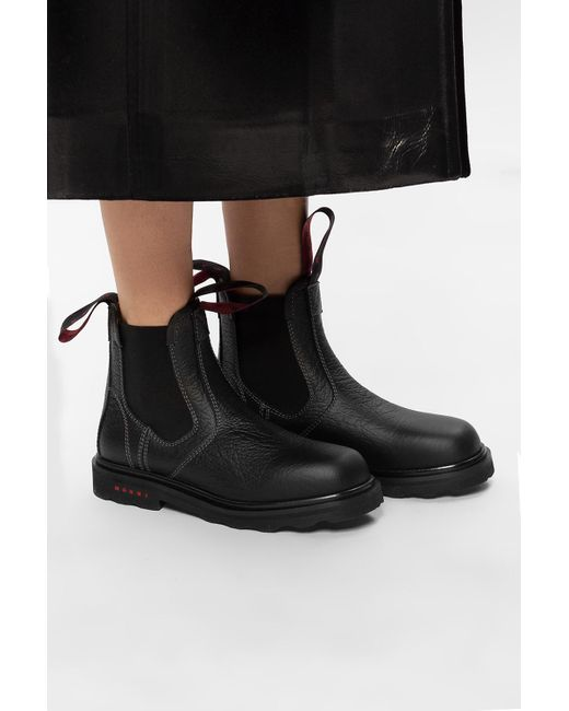 Marni Black Leather Ankle Boots
