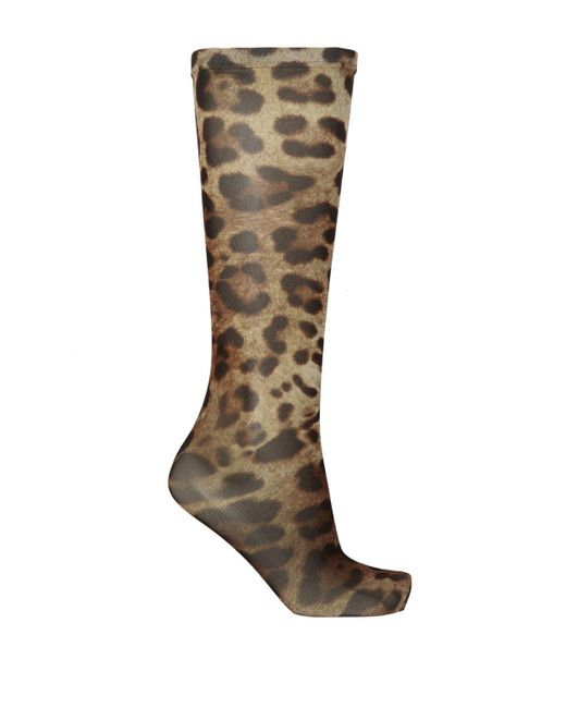 Dolce & Gabbana Brown Long Socks With Leopard Print