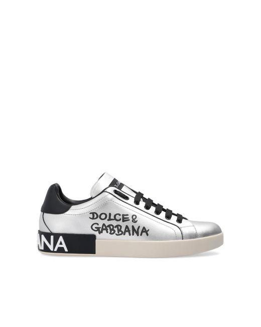 Dolce & Gabbana Metallic Calfskin Nappa Portofino Sneakers for men