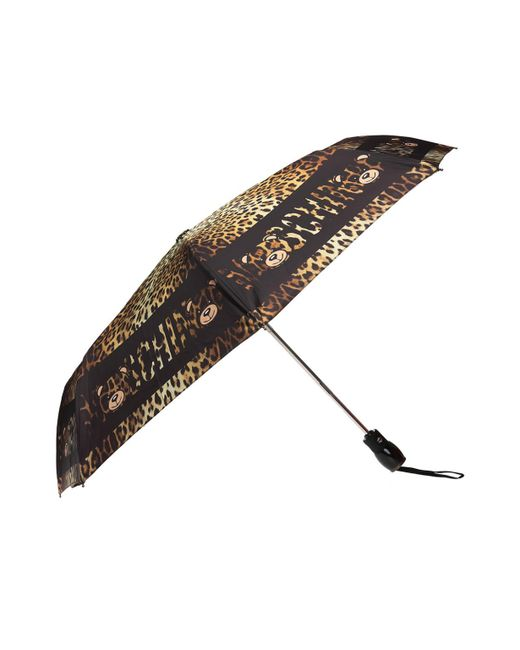 Moschino - Brown Leopard Printed Umbrella - Lyst