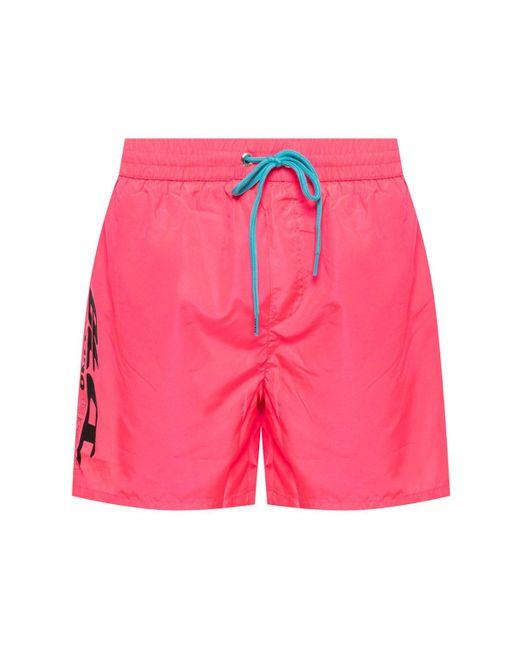 DIESEL Pink Logo-printed Swim Shorts for men