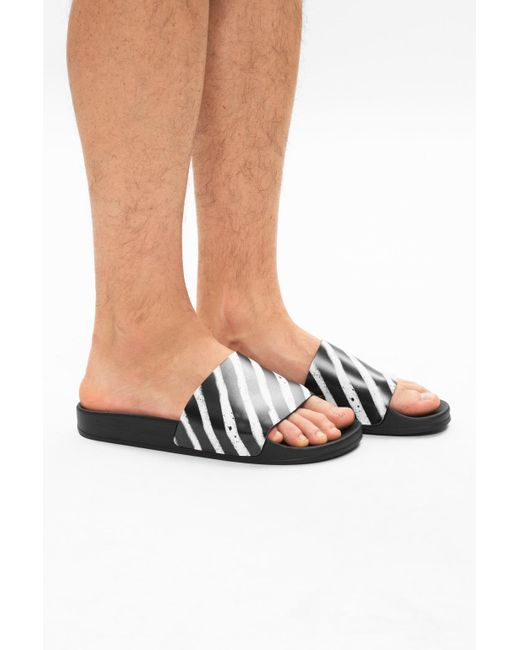 Off-White c/o Virgil Abloh Black Spray Stripe Slide for men