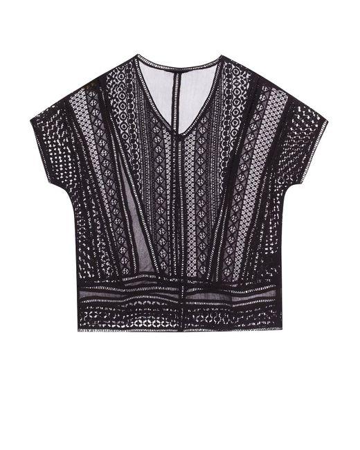 AllSaints 'cindi' Openwork Short Sleeve Top Black